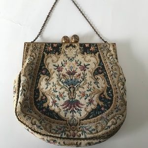 French Floral Tapestry & Gilt Brass Clutch bag